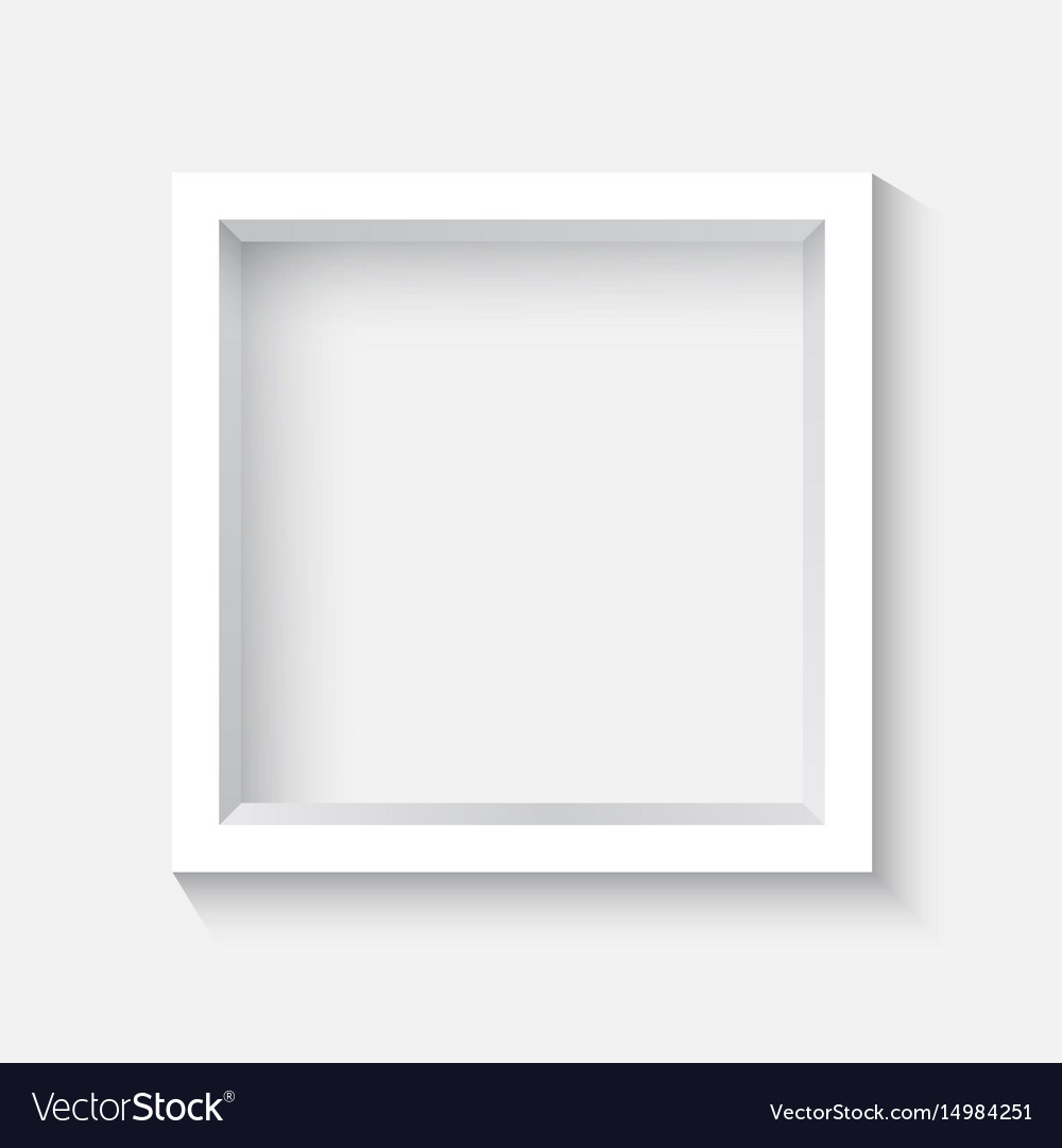 White square 3d photo frame with shadow Royalty Free Vector