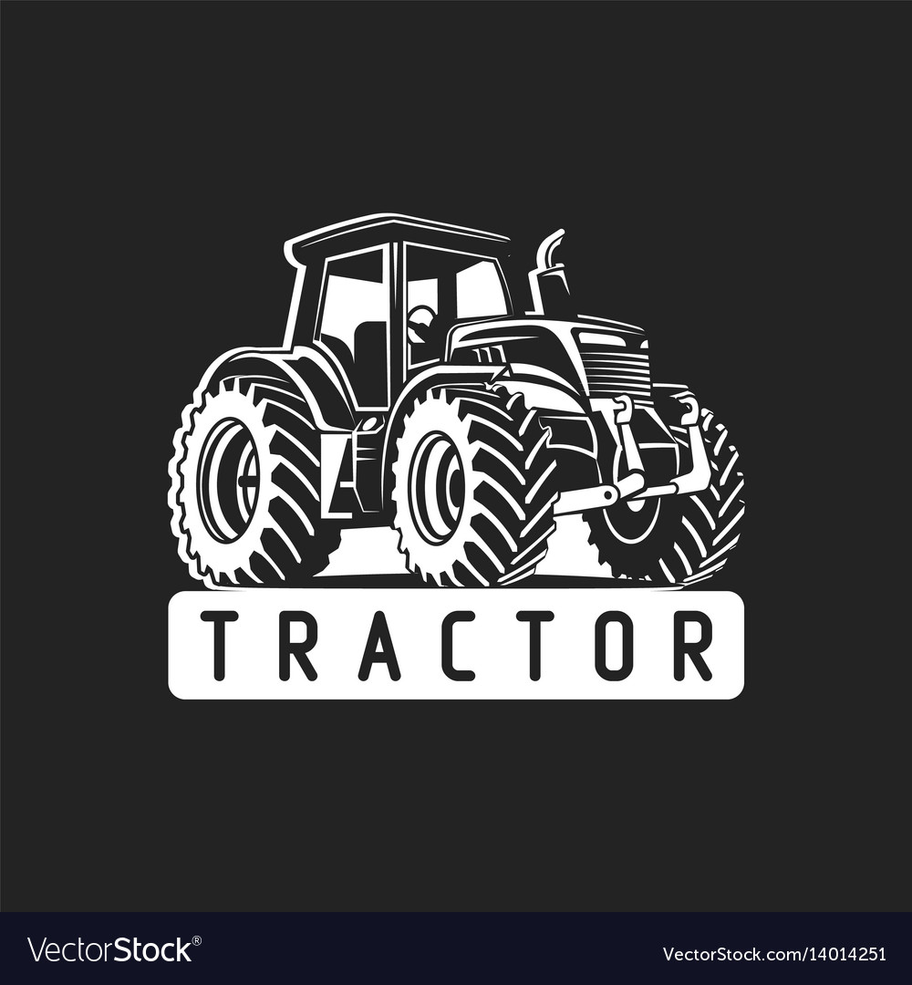 White tractor on black background