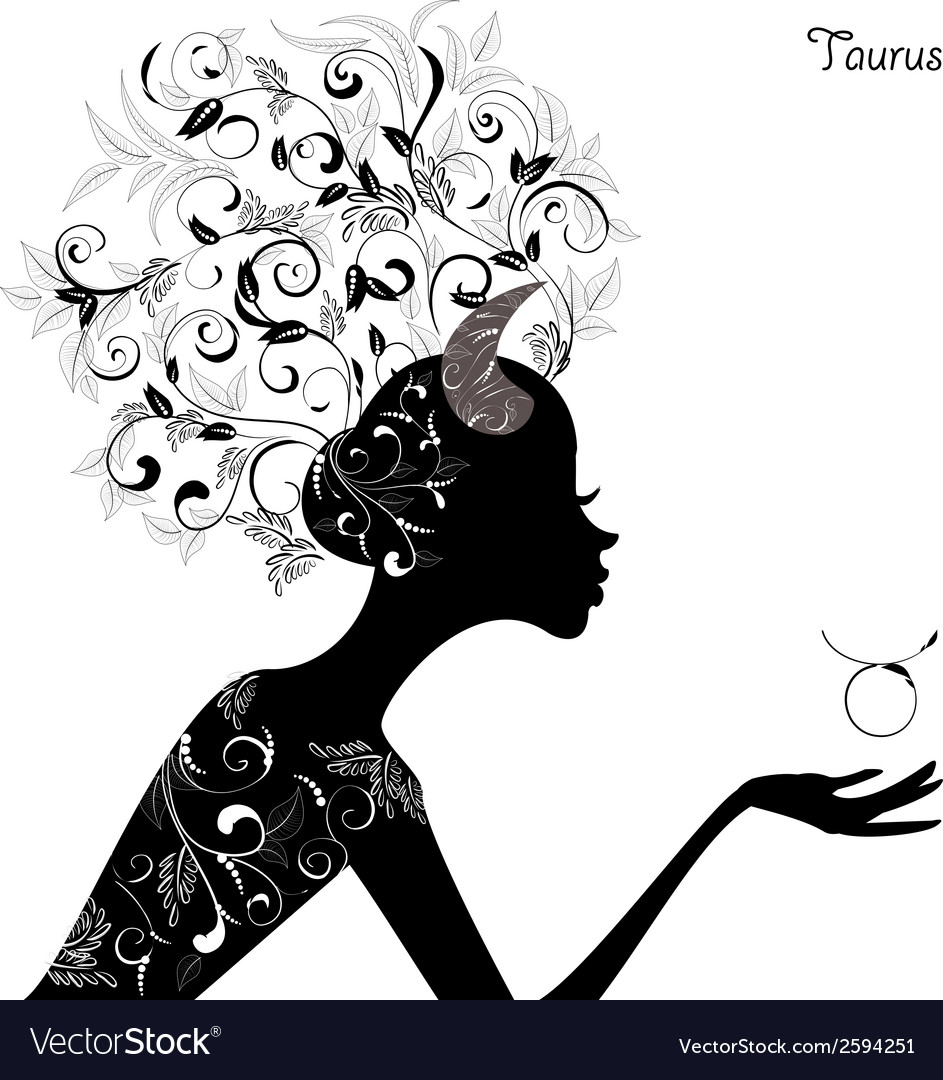 Zodiac sign taurus fashion girl vector image