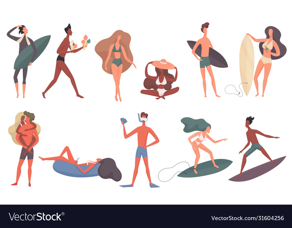 Beach people set cartoon flat
