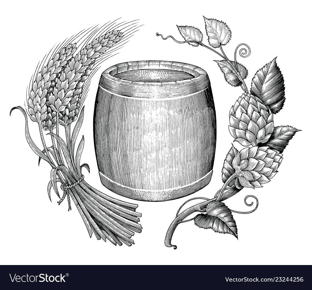 Beer logo hand drawing vintage engraving style