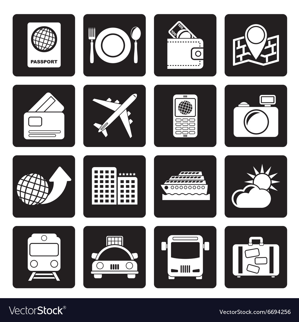 Black travel transportation and vacation icons