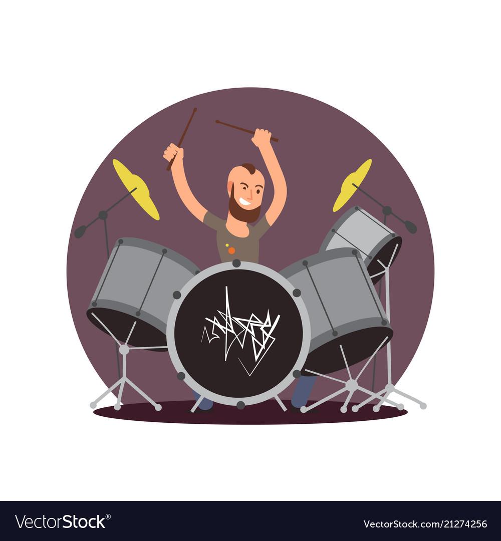 Cartoon character drummer flat musician
