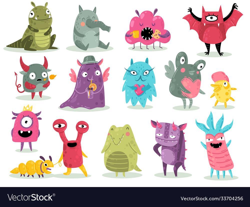 Cartoon monsters cute goblins colorful alien