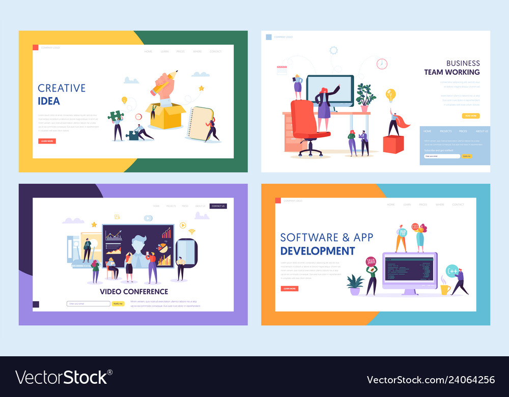 Creative teamwork concept set landing page
