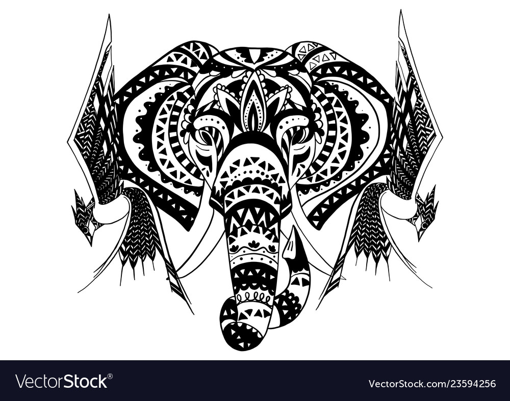 Elephant with birds in ornamental style