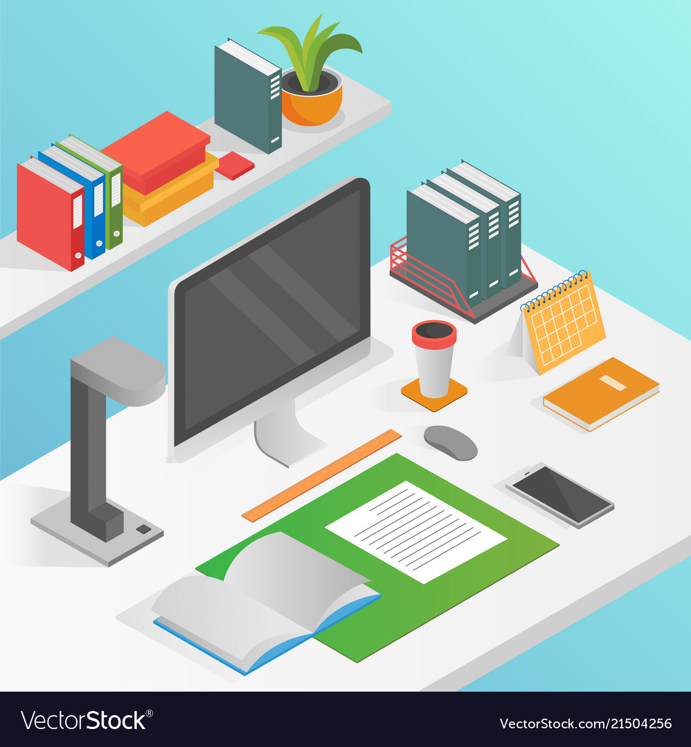 Flat isometric workspace work place concept