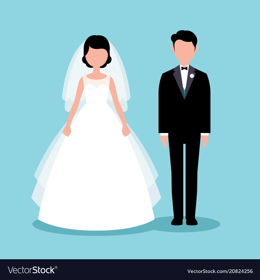Flat style bride and groom