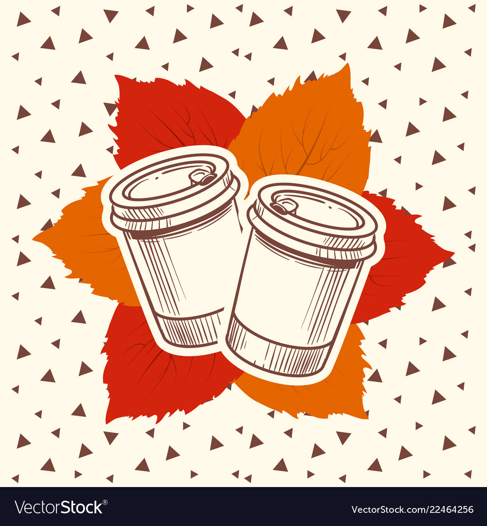 Hipster style autumn with coffee and leaves