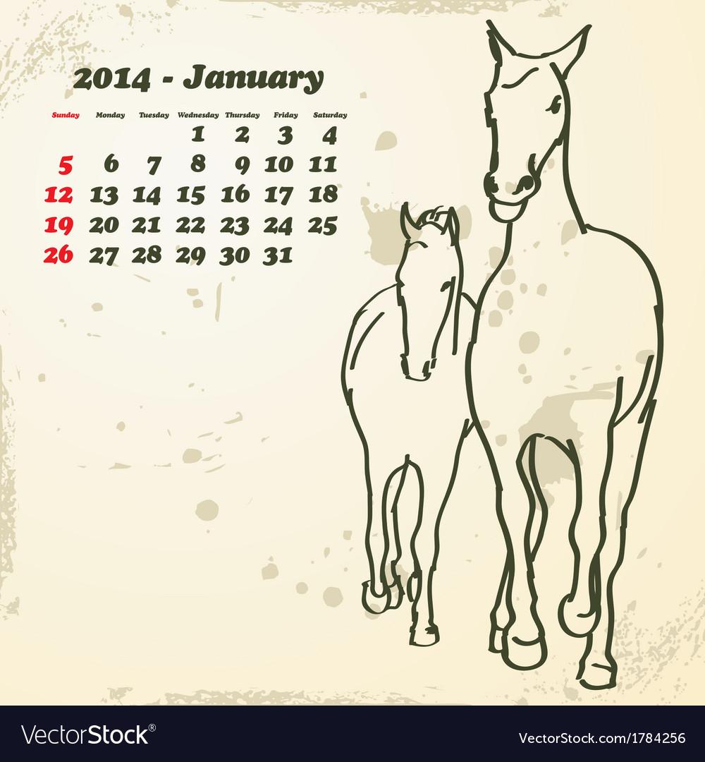 January 2014 hand drawn horse calendar vector image