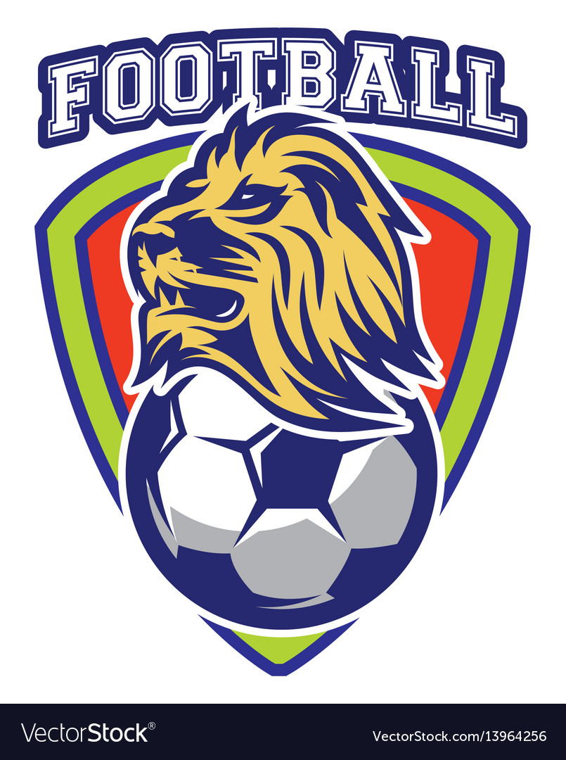 Pattern sport badge for team with lion and ball