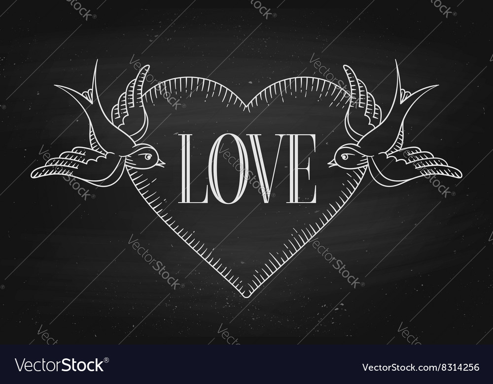 Set of old vintage ribbon banner with word Love