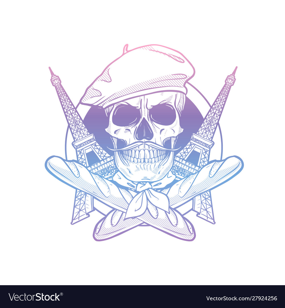 Sketch french skull with beret