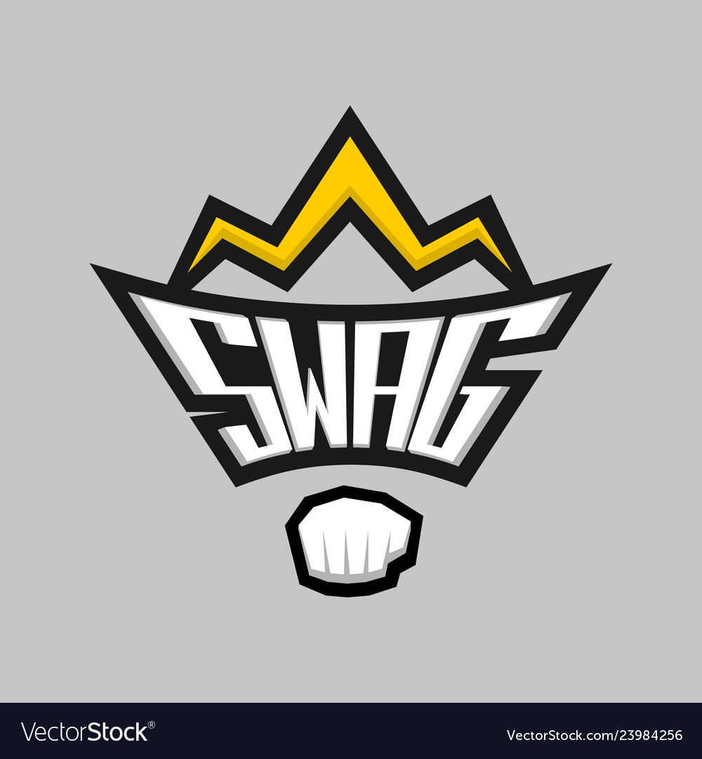 Swag word logo badge with crown and fist