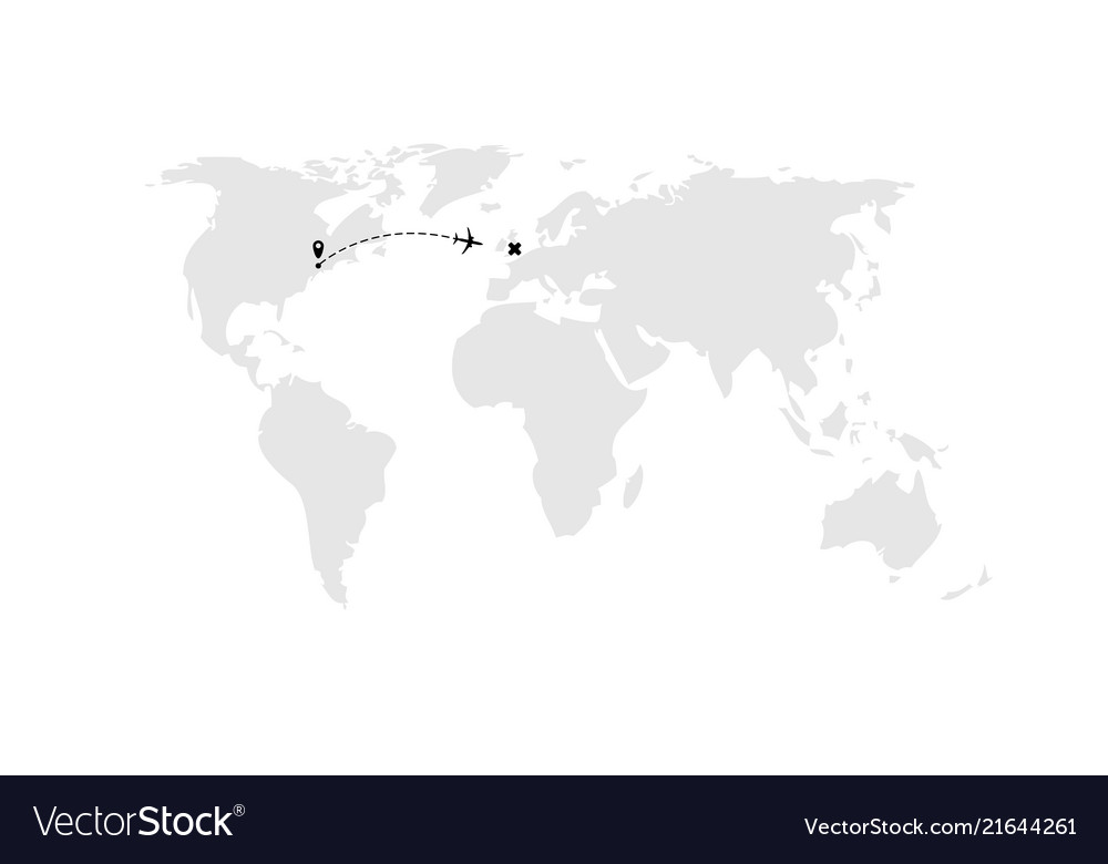 Airplane dash line flight route