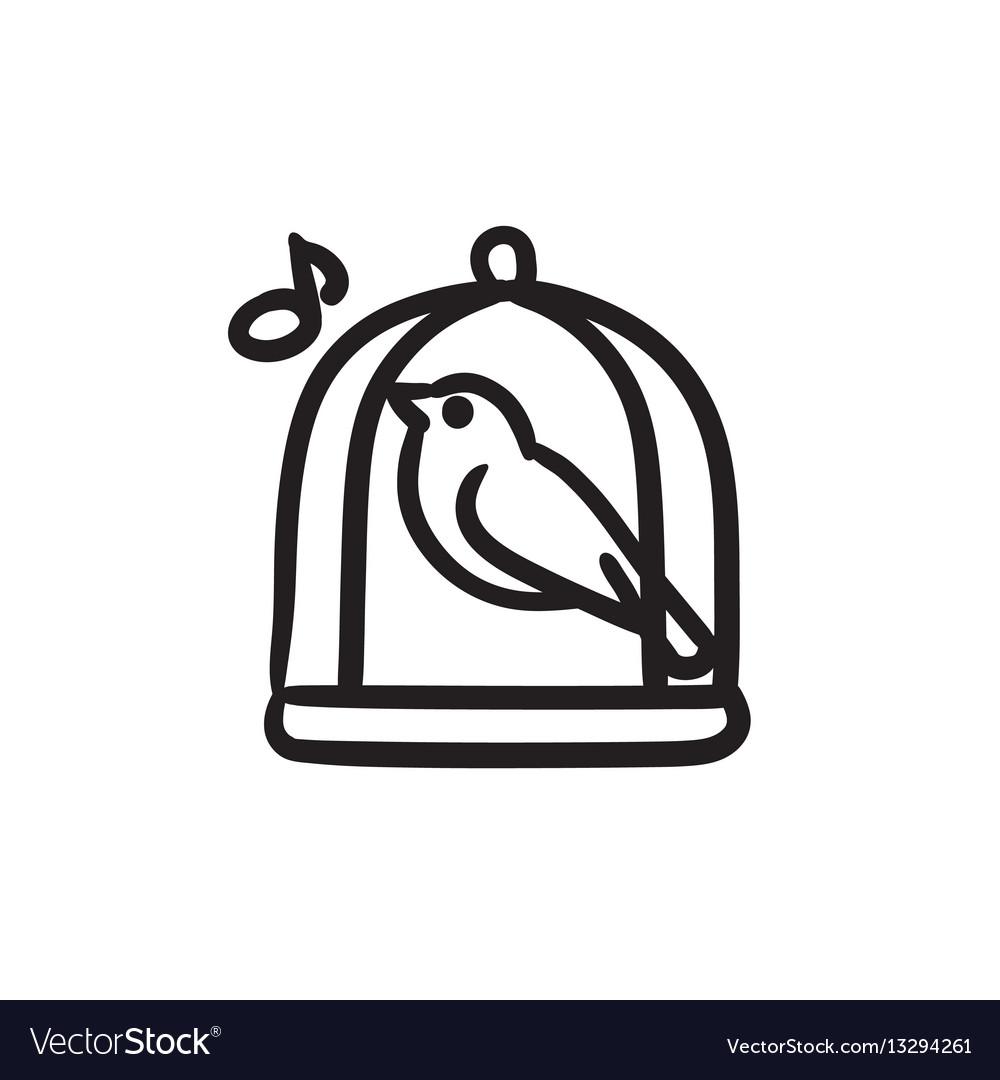 Bird singing in cage sketch icon
