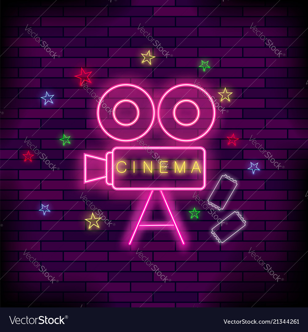 Cinema light neon sign pink signboard bright