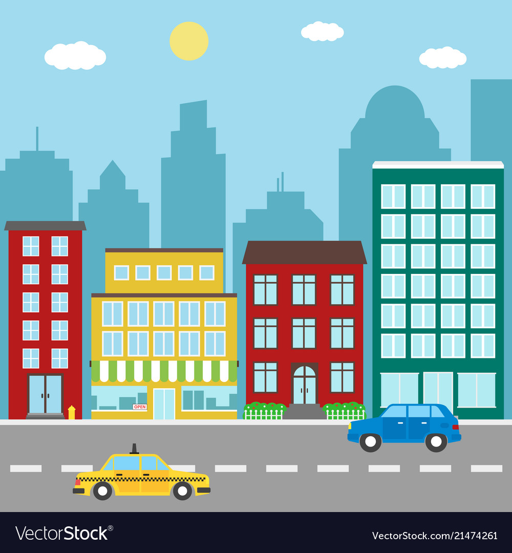 City landscape with buildingsstores car and taxi