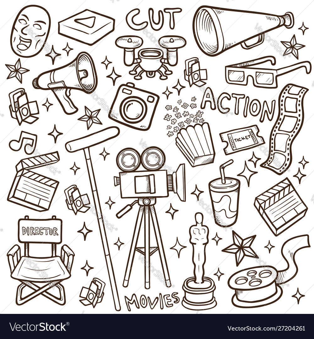 Doodle movie icon sets stock coloring