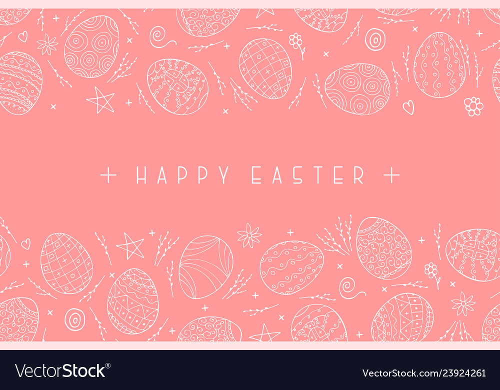 Happy easter pink background with ornamental eggs