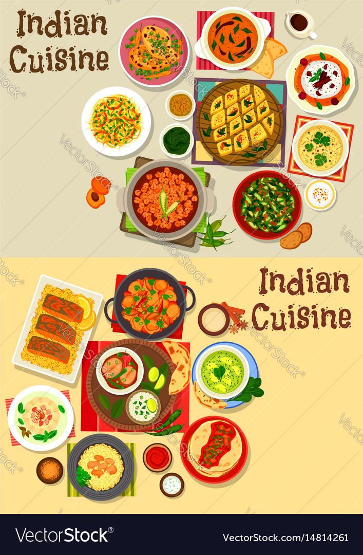 Indian Cuisine Healthy Dinner Icon Set Design