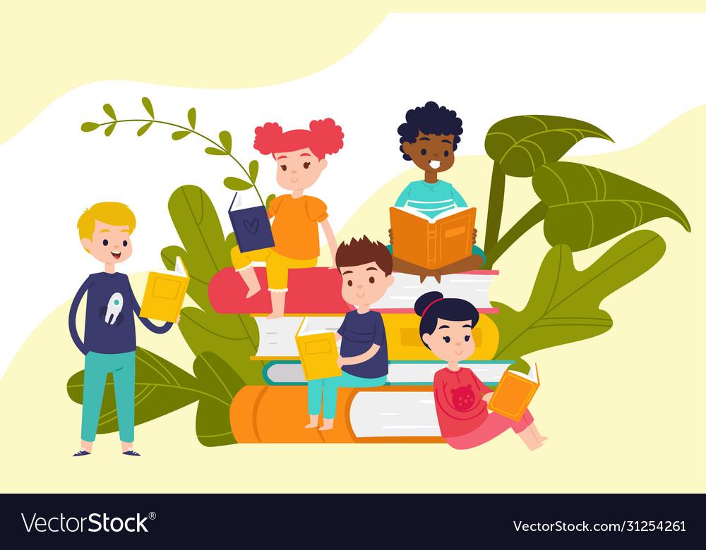Kids read books on piles huge books education