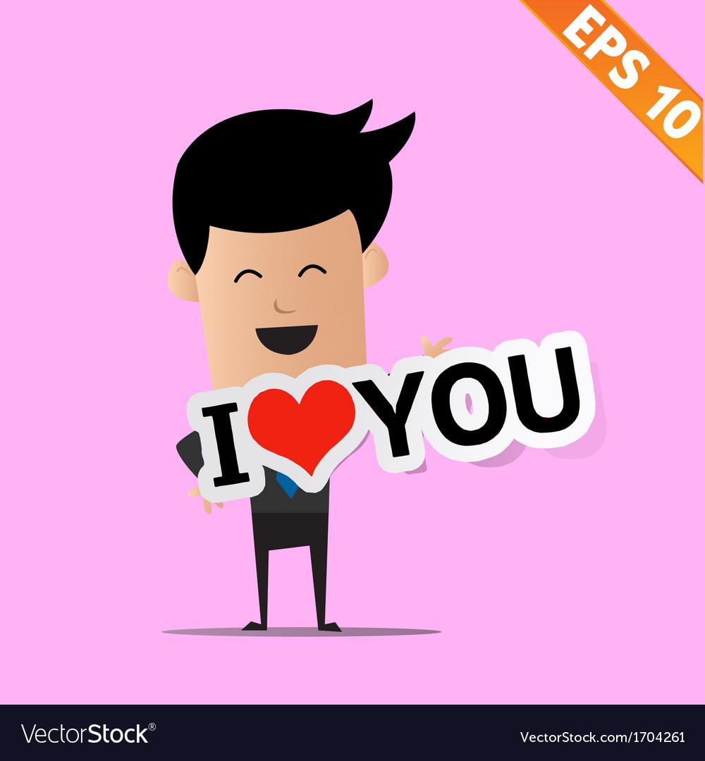 Man handling love tag sign - - EPS10