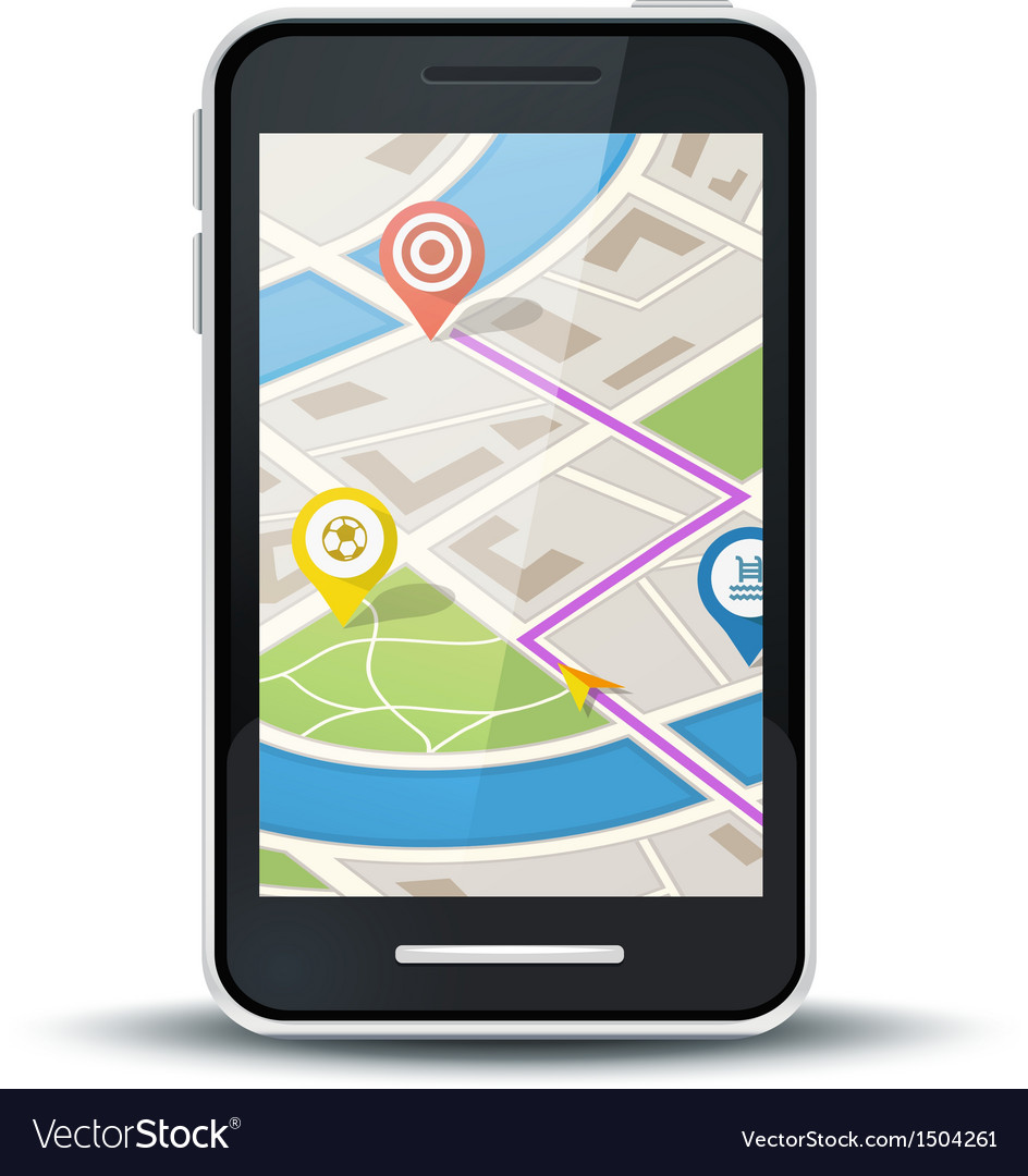 Mobile phone with gps map application vector image