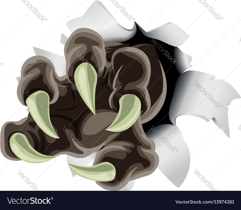 Monster claw breaking through background vector image