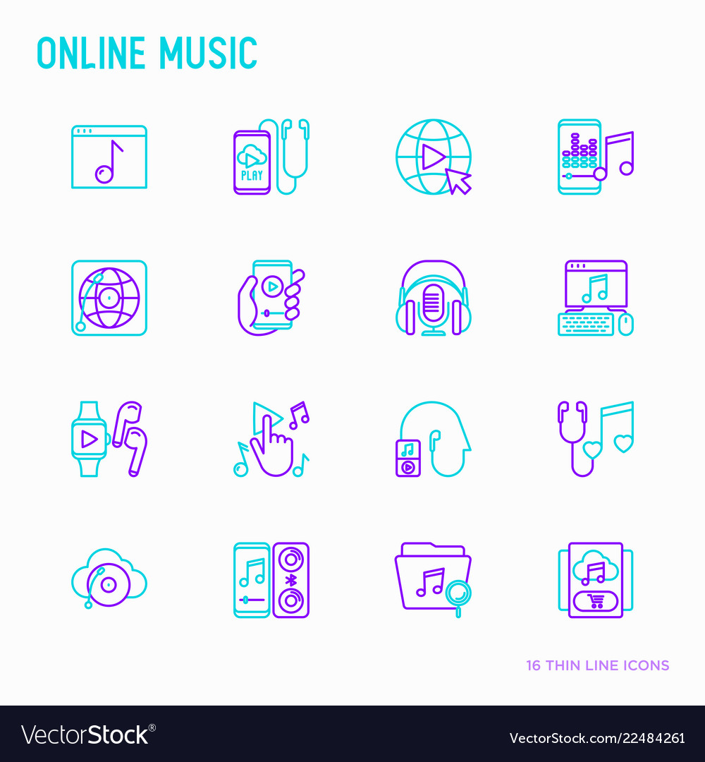 Online music thin line icons set