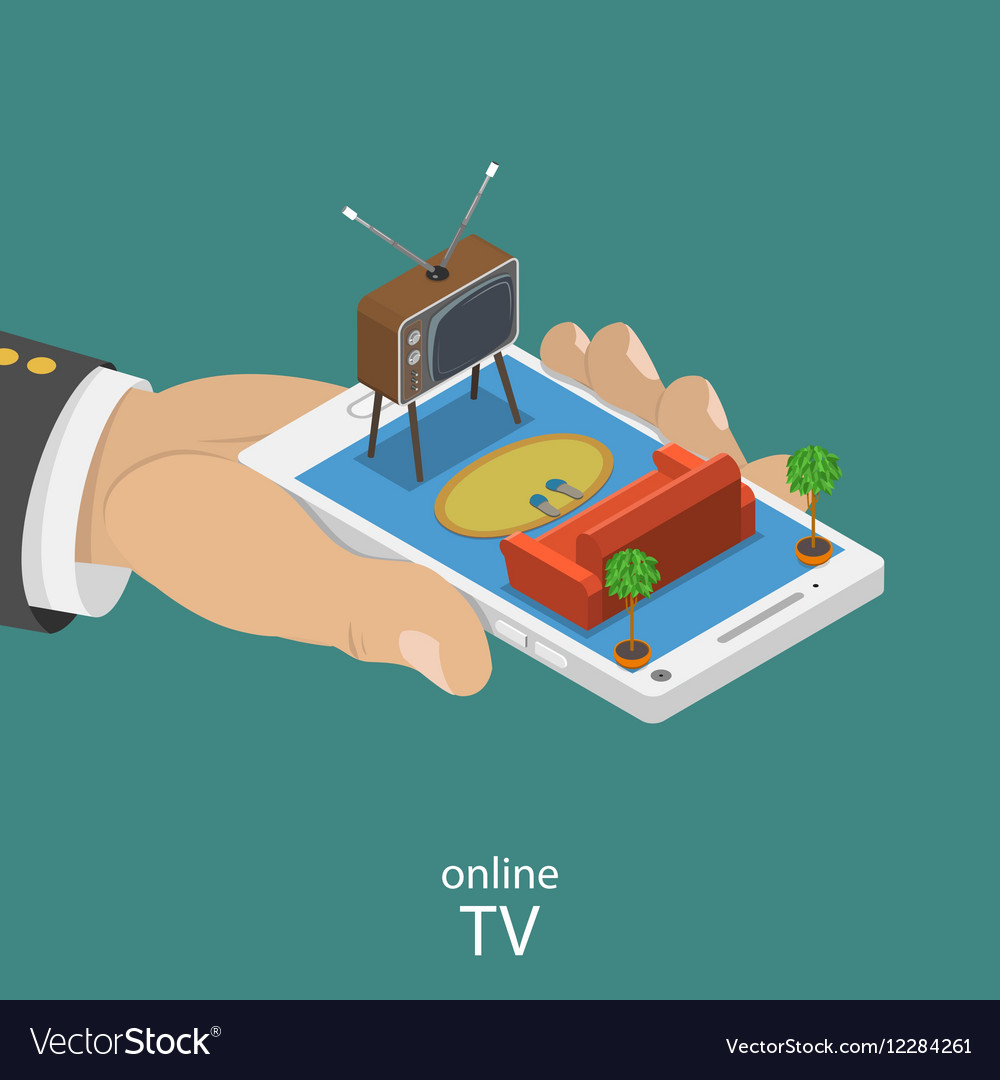 Online TV flat isometric concept