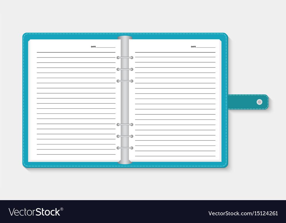 Open notebook on light gray background