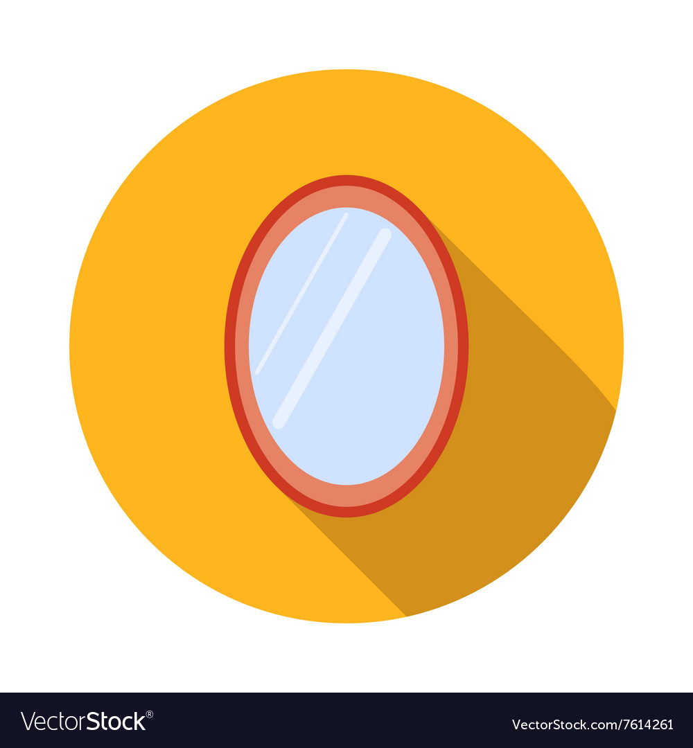 Oval mirror icon flat style vector image