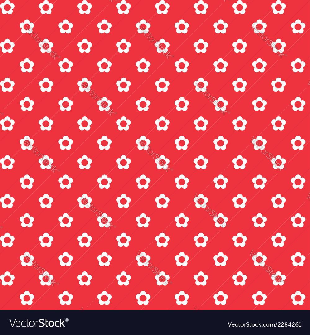 Red background white flowers seamless pattern