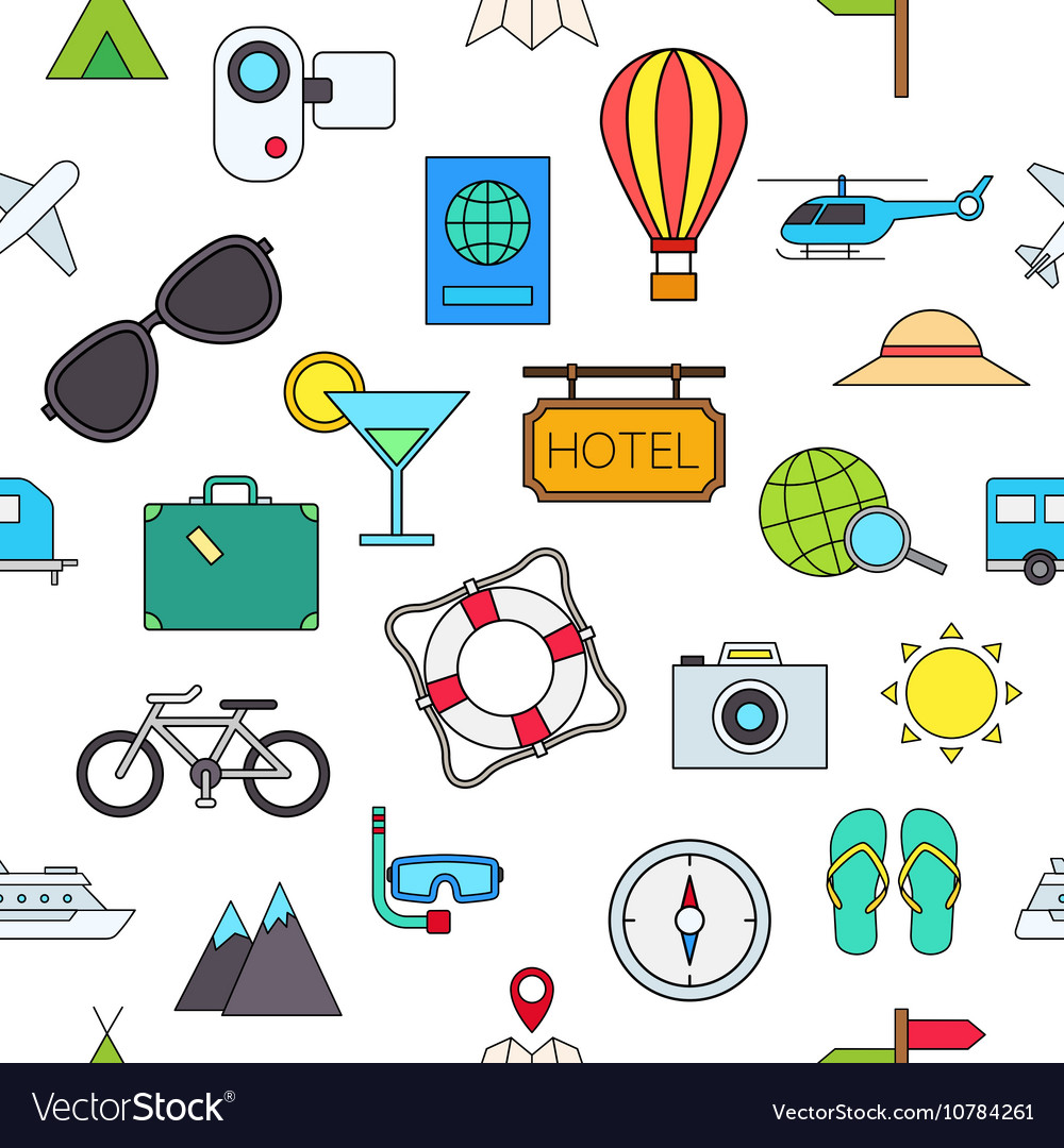 Travel colorful pattern icons