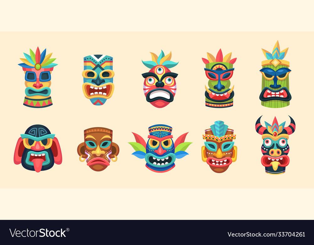 Tribal mask ethnic african aztec and hawaiian