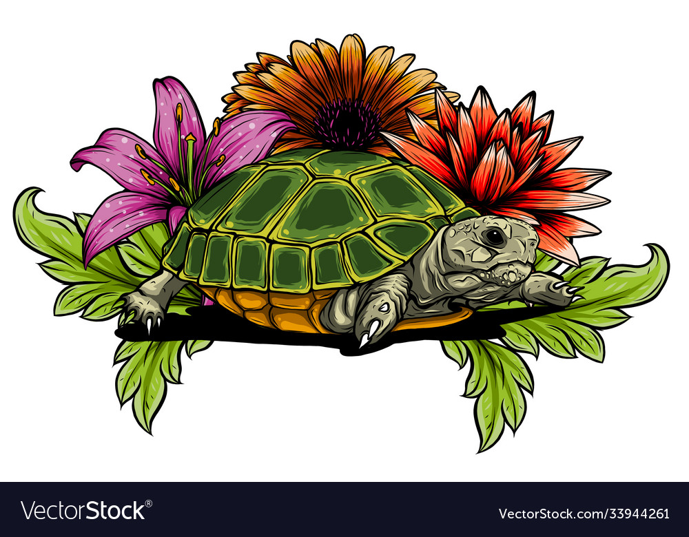 Turtle with flower designs art