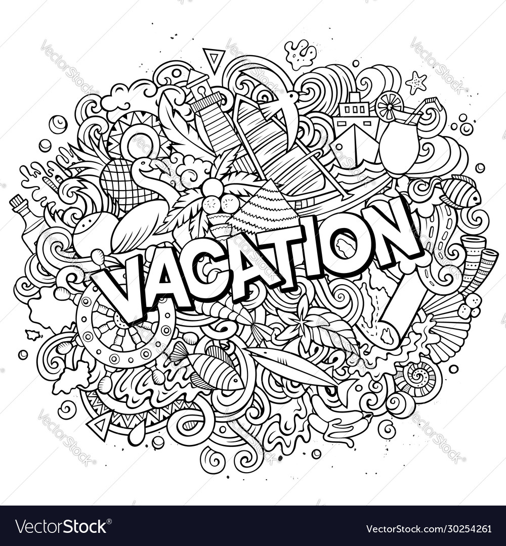 Vacation hand drawn cartoon doodles