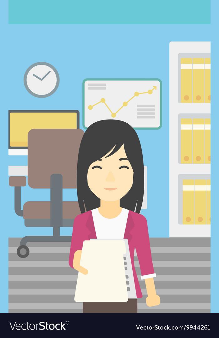 Woman giving resume Royalty Free Vector Image - VectorStock
