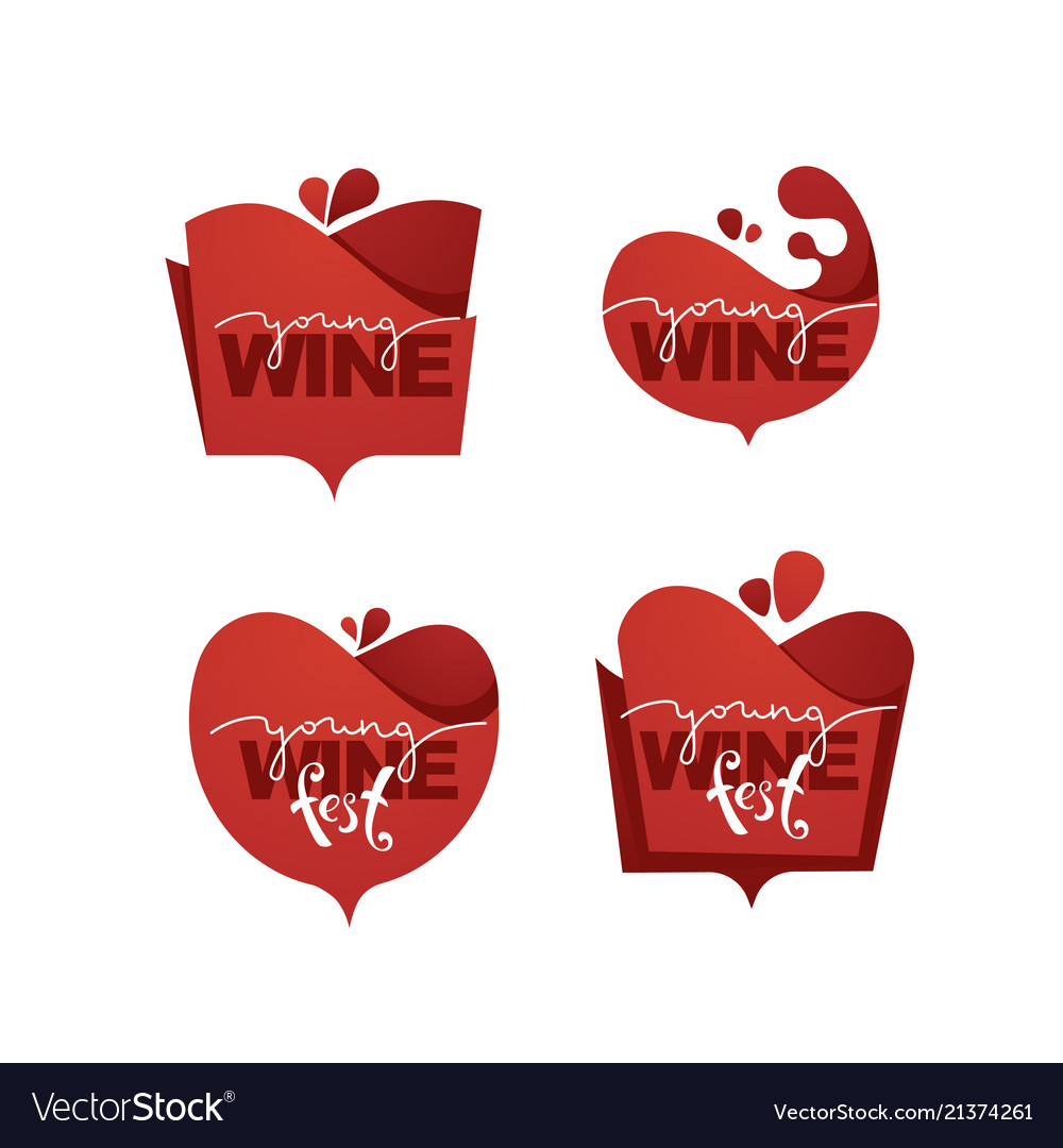 Young wine fest red wine logo emblems labels