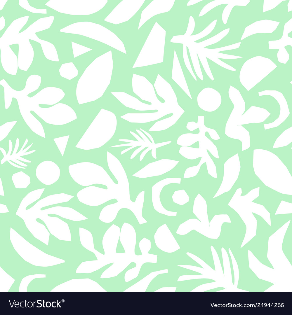 Abstract Mint Green And White Floral Background Vector Image