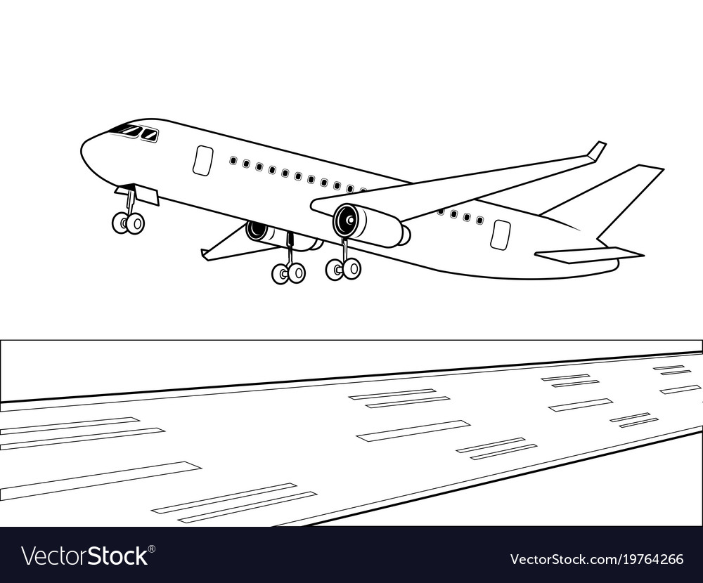 Airplane landing coloring book Royalty Free Vector Image