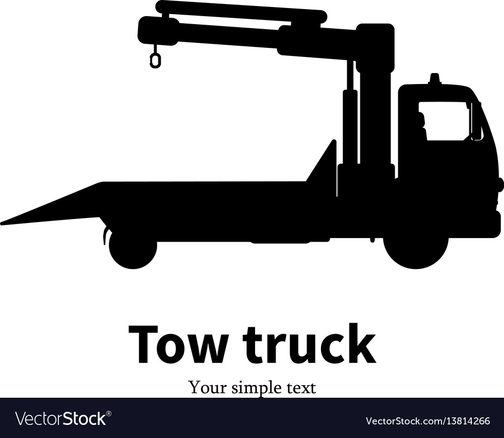 Black silhouette of tow truck