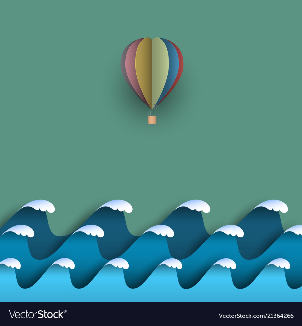Blue origami paper waves with hot air balloon
