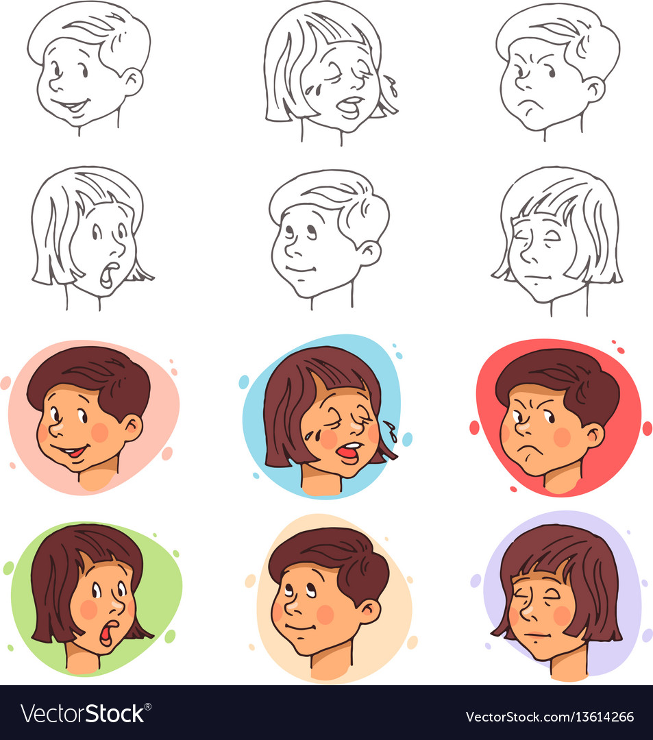 Children face expressions in stroke and flat style