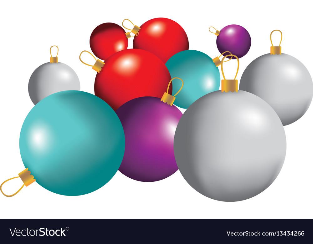 Color christmas balls icon vector image