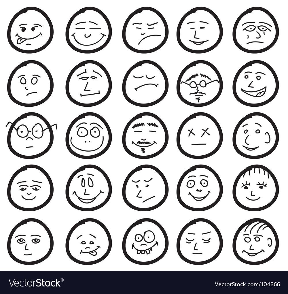 Funny hand drawn unique smiles vector image