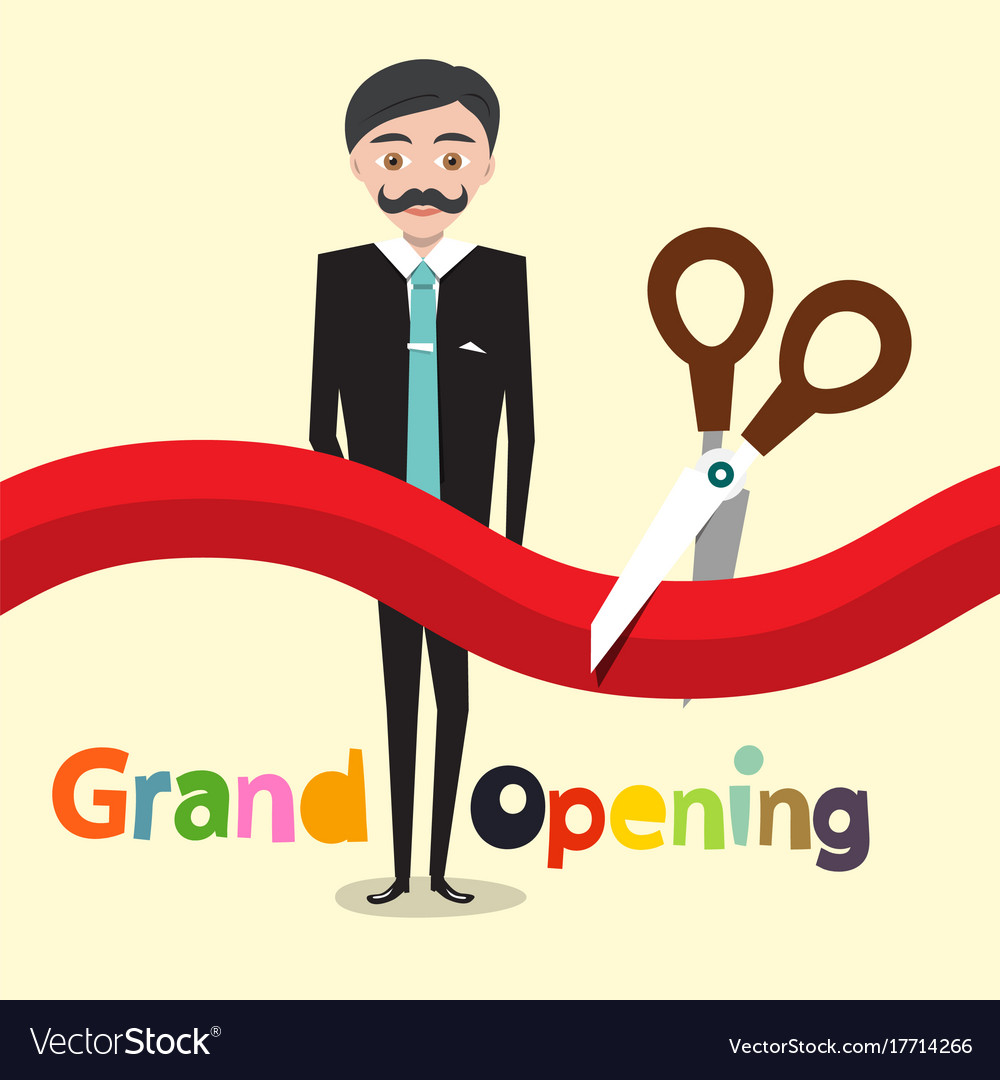 grand opening flat design cartoon with business vector image