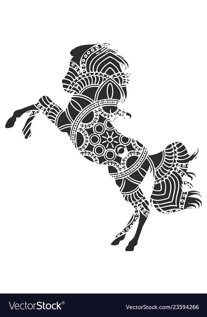 Horse with ornaments vector