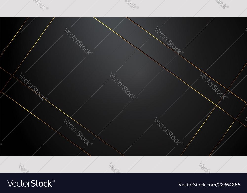 Luxury black background banner with gold strip